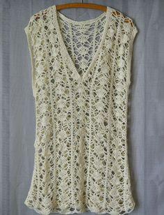 Crochet Dress Tunic Ecri KnitwearYarnHand Made by smArtville, $50.00