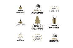 Hand Drawn Christmas gold set - Illustrations - 3