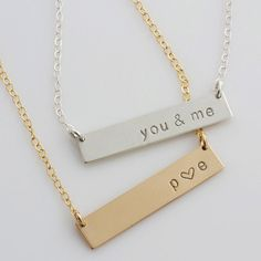 The personalized Classic Bar Necklace, nameplate necklace can be customized with names,symbols, initials or leave it blank! Comes in 14k gold