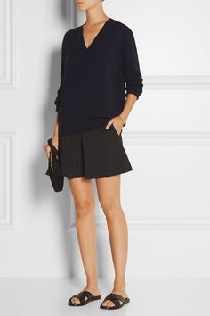 navy knit with black shorts