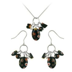 "Sterling Silver Black Hand -Blown Glass Cluster French Wire Earrings and Cluster Pendant Necklace with Rolo Chain Set, 18"" Amazon Curated Collection. $24.00. Width of pendant and earring: .3"". Height of earring: 1.6""; pendant: 1"""