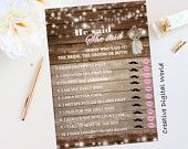 Rustic Bridal Shower Wedding Printable Game He Said She Said, Pink Flowers Bridal Shower,String Lights, Baby's Breath, Floral, Digital File