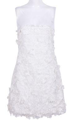 White Sleeveless Applique Lace Chiffon Dress US$126.34