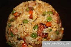 Polish Fried Rice Recipe.. 1/4 cup Light Soy Sauce  1 Tbl Seasoned Rice Wine Vinegar  1 egg, whisked with 1 dash salt  1 Tbl Olive Oil  1/2 medium Onion, diced (about 3/4 cup)  1 14-oz Polska Kielbasa (Polish Sausage)  8 oz Frozen Carrots and Peas (1/2 of a 16 oz bag)  4-5 cups Cooked Rice