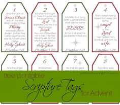 Free Printable Scripture Tags For Advent ~ download these free printable tags to use including scriptures for all of December leading up to Christmas Day. Add a small gift for your children as a daily reminder of Christ's gift to us!