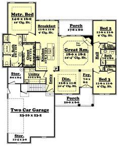 European Style House Plan - 3 Beds 2 Baths 2000 Sq/Ft Plan #430-44 Floor Plan - Main Floor Plan - Houseplans.com