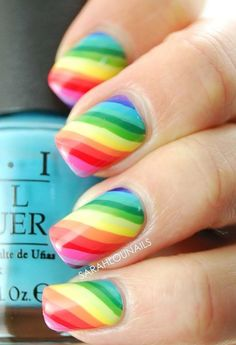 The classic rainbow strips will never go out of style. You can choose lighter shades so it would feel more like candies on your nails.