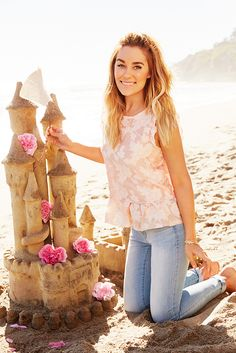 Here's looking ahead to summer's best days (and prettiest sandcastles). Build the perfect outfit with sun-faded jeans in a calming ocean blue and a light-as-air ruffle tank top. Shop this LC Lauren Conrad look only at Kohl's.