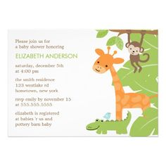 Jungle Safari Animals Baby Shower Custom Invite