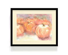 Watercolor Pumpkin Patch  Original Art Print  by ShinyDesigns