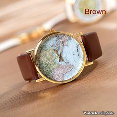 70 % de réduction, la veille de cuir Watch, montres unisexe, carte mondiale, monde carte montre Mens poignet montres femmes montres cadeau d...