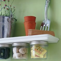 Recycled Storage Jars.    Jam jars make a great upcycled storage solution in utility rooms and craft rooms - simply glue the lid of a clean, empty jam jar to the underside of a shelf or a desk, and unscrew when you need the contents.      Credit: House to Home