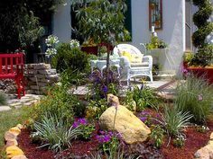 NEWLY LANDSCAPED WHIMSICAL COUNTRY GARDEN PATIO