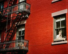 #NYC - The Lady in Red - Woman, Window, Greenwich Village Apartment, Valentines Day, New York City, Street Photography, #HomeDecor...