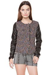 Tweed Jacket: Multicolor metallic tweed jacket with faux leather sleeves. Features two front pockets and a zipper/button closure on front. Fully lined. Pair this with a skater dress, patterned tights, and boots for the winter.