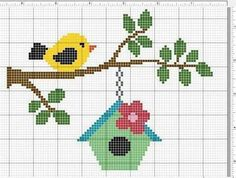Bird. Cross Stitch Bird, Cross Stitch Alphabet, Cross Stitch Animals, Cross Stitch Charts, Cross Stitch Designs, Cross Stitching, Cross Stitch Embroidery, Embroidery Patterns, Cross Stitch Patterns