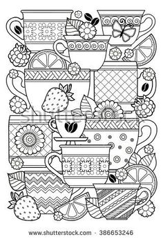 Coloring book for adult. Cups of herbal tea and coffee.Flowers and fruits.