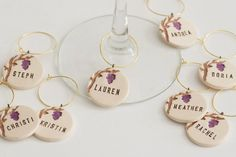 Grapevine Personalized Ceramic Wine Glass Charms  by VumbacaWhite