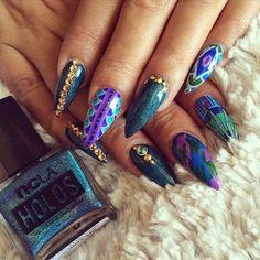 Blue and Purple stiletto nails fashion nail pretty nail art nail ideas nail designs manicures stiletto nails