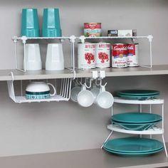 Aumente o espaço dentro de seus armários e acabe com a bagunça. Encontre seus utensílios e alimentos com maior facilidade, organize diversos objetos.