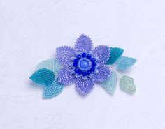 Beaded Purple Clematis Flower Brooch with Plaited Herringbone  Stitch, 369-1ch-prp