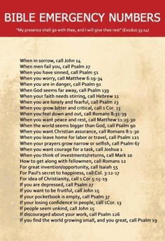 Bible emergency numbers. For when life or a situation gets hard, here's a Bible verse or two to refer to.