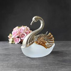 Swan Salt Cellar Silver & Frosted Glass Figurine Trinket | Etsy Candelabra Centerpiece, Silver Wings, Pillar Candle Holders, Glass Figurines, Vanity Set, Cellar, Frosted Glass, Trinket Boxes, Swan