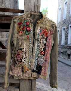 The time traveller II -- reworked cotton jacket, wearable art, hand embroidered and beaded details,