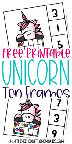 Ten Frame Unicorn Printables are a wonderful way to encourage counting, number recognition, subitizing and of course number sense. Don't forget to grab yours today! #unicorn #preschool #kindergarten #clipcards #tenframes #counting #preschoolmath #prekmath #kindergartenmath Sensory Activities Toddlers, Kids Learning Activities, Preschool Worksheets, Preschool Kindergarten, Subitizing, Unicorn Printables, Early Math, Number Recognition, Math Concepts