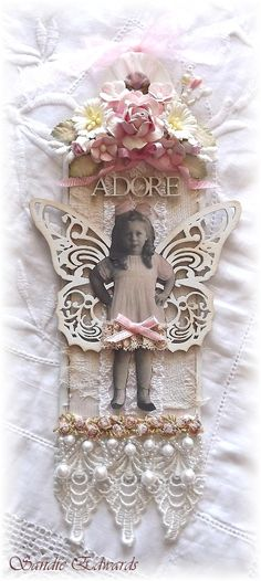 Large Shabby Chic tea tag, created using Imaginarium Designs chipboard elements, and a range of flowers from I am Roses and Wild Orchid Crafts.