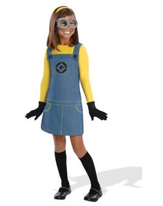 Girls Minion Costume - Despicable Me 2 - Party City,im being this for Halloween Costume Minions, Girl Minion Costume, Minion Dress Up, Minion Halloween Costumes, Halloween Fancy Dress, Halloween Kids, Spirit Halloween, Minion Outfit, Kid Outfits