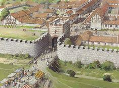 The north gate at Silchester as it would have looked in the 3rd century AD, after the rampart had been strengthened with a wall