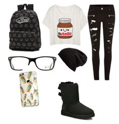"""""""Untitled #12"""" by kathryn801133 on Polyvore featuring River Island, Vans, UGG Australia, Ray-Ban and Free People"""