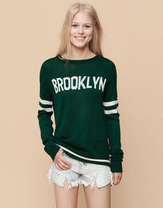 Pull&Bear - mujer - jerseys y chaquetas - jersey estilo college - botella - 09559312-I2015