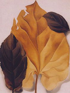 Georgia O'Keeffe, Brown and Tan Leaves, oil O'Keeffe at Lake George | Paint Watercolor Create http://paintwatercolorcreate.blogspot.com/2014/04/okeeffe-at-lake-george.html