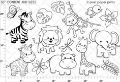 Jungle Friends - Digital stamps - Clipart - Are you looking for cute high quality images to use in your projects? Clipart, Photoshop Elements, Digital Stamps, Painted Rocks, Coloring Pages, Colouring, Applique, Paper Crafts, Diy Paper