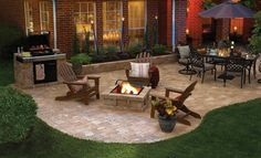 Nice backyard patio on pavers with bbq, pit and table for dining. If the left side was a slightly raised deck and the entire patio area enclosed, this would be the perfect back yard for me! Small Backyard Patio, Backyard Patio Designs, Backyard Landscaping, Landscaping Design, Backyard Ideas, Pergola Ideas, Back Yard Paver Ideas, Patio With Firepit, Patio Ideas With Fire Pit
