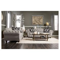 Furniture of America Augusta Victorian Grey Sofa Set Living Room Grey, Living Room Sets, Interior Design Living Room, Living Room Designs, Living Room Decor, Interior Decorating, Decorating Ideas, Sofa Tables, Coffee Tables