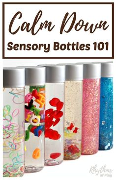 """Calm down sensory bottles are used for portable no mess safe sensory play for babies, toddlers, and preschoolers, to calm an anxious child, to help children learn to meditate, and as a """"time out"""" timer for kids. This article includes links to resources available to help learn more about their uses and how to make DIY sensory bottles."""