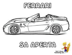 Cool Ferrari Coloring Pages For Boys Free Sheets Of Cars Stallion Car Picture Berlinetta Aperta
