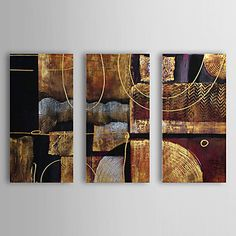 Oil Painting Abstract with Stretched Frame Set of 3 1307-AB0434 Hand-Painted Canvas – EUR € 74.09