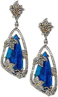 18K Gold Opal & White Diamond Butterfly Dangle Earrings