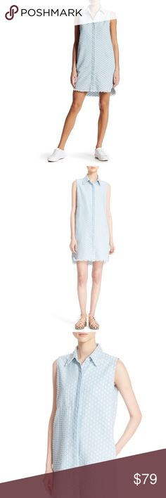 Current/Elliott The Sage Shirt Dress Sleeveless spread collar shirt dress with concealed button closure and a nice textured pattern that styles beautifully with knits. Only work once for a couple of hours, no signs of wear. Slash pockets, shirttail hem, 55% cotton, 45% poly. Machine wash. Current/Elliott Dresses Mini