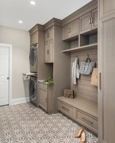 Crushing On: Mudrooms. Crushing On: Mudrooms - Stacy Risenmay. Every time I come across a gorgeous, organized mudroom, I am filled with envy! Today I am sharing some of my favorite mudrooms that I am crushing on. Mudroom Laundry Room, Laundry Room Remodel, Laundry Room Cabinets, Laundry Room Design, Storage For Laundry Room, Laundry Room Floors, Small Laundry, Kitchen Remodel, Wood Cabinets