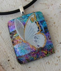 Pretty Butterfly, Dichroic Glass Pendant - Delphi Stained Glass
