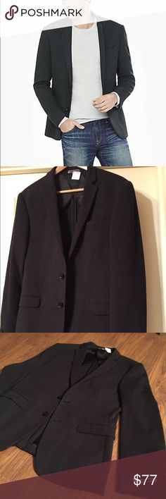 """Express Photographer Pique Knit Blazer Jacket NWT New Express Men's Slim Fit Photographer Pique Knit Blazer Suit Jacket in black. """"All work and no play,"""" lining. See pictures for detailed look at the 'textured' style, pocket design, and inside lining. Unworn and from smoke free home. $178. Retail. Classy yet modern. Perfect everyday look and very suited for Winter in this style.  size 38 Regular. Express Suits & Blazers Sport Coats & Blazers"""