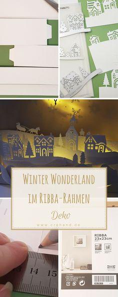 Winter Wonderland im Ribba-Rahmen mit Lichterkette als weihnachtliche Wohnraumdeko und DIY Geschenkidee für Weihnachten. Eine Schritt-für-Schritt Video-Anleitung gibts auf meinem Blog.