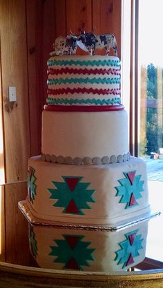 My wedding cake, October 4th, best day ever! :) Southwestern wedding cake with longhorn cake topper. Chevron. Concho accent. Native American pattern.