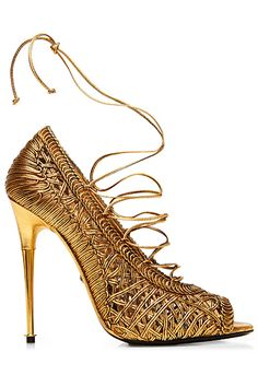 You know, this is a really good color, you rarely see it. I don't love mirrored heels usually but this one works and I want to wear it with white and feel all Grecian.   Tom Ford - Shoes - 2014 Spring-Summer