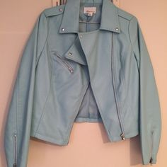 Blue leather jacket Multiple zippers, ( on sleeves, pocket zipper) silver studs, one pocket Forever 21 Jackets & Coats